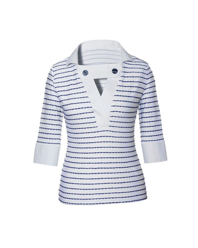 stretch blouse (3/4-sleeve) in white with stripes in dark blue
