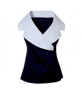 blouse in dark blue with side zipper and fancy collar in white