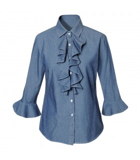 cotton blouse in jeans look with flounce and 3/4-sleeve
