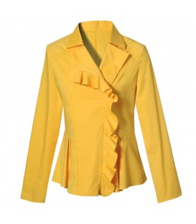 blouse in yellow with small flounce and zipper