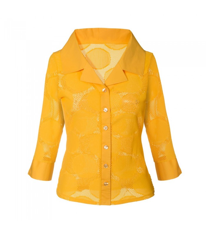 transparent stretch blouse (3/4-sleeve) in yellow with hole pattern and fancy double collar