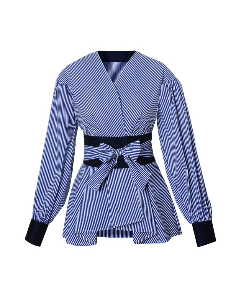 blue striped blouse with peplum and wrap ribbon