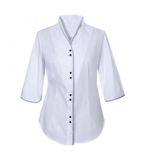 non iron stand up collar blouse in white with 3/4-sleeve and contrast stripe in dark blue