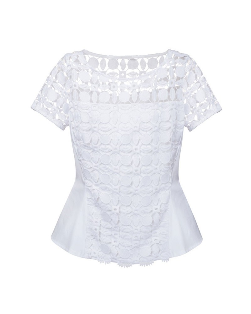 short sleeve blouse in white with embroidery overlay in, side zipper and peplum