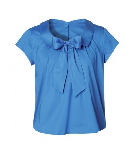short cut and wide blouse (worn on both sides) in blue with short sleeve and bow application