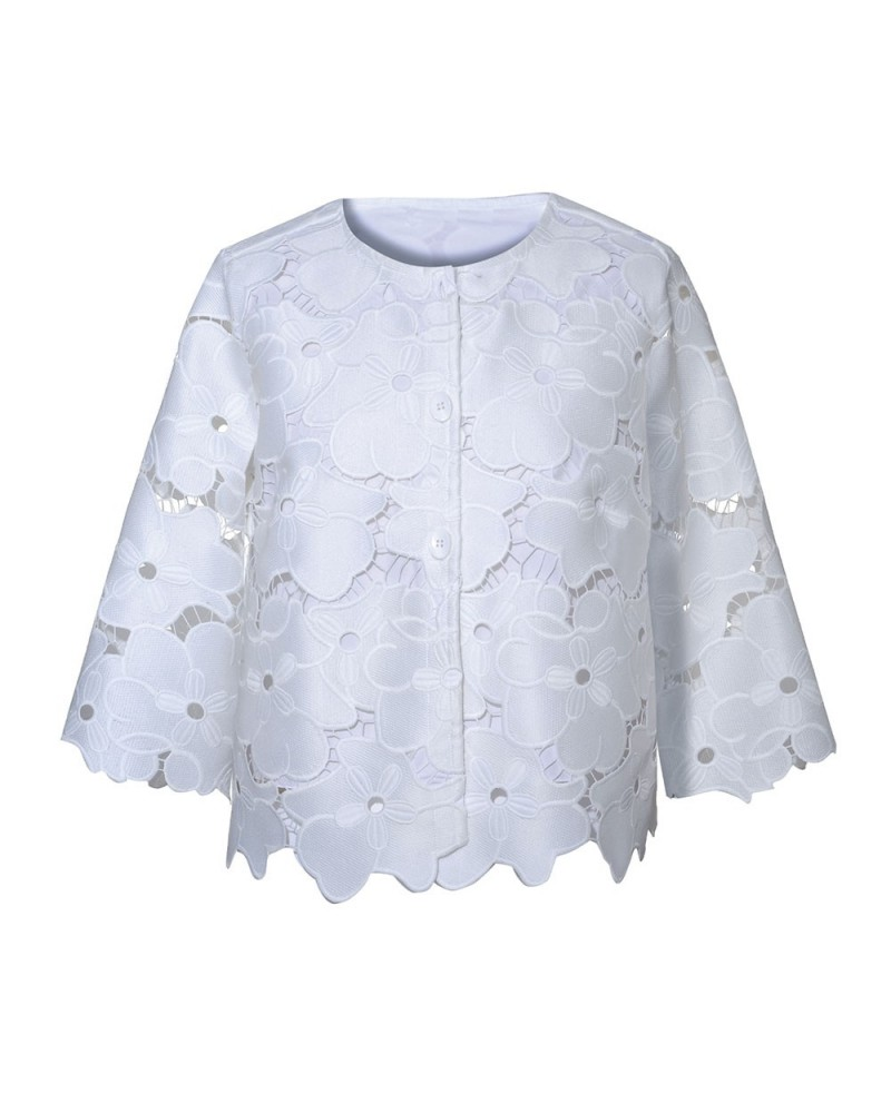 short cut blouse in white with 3/4-sleeve and embroidery overlay