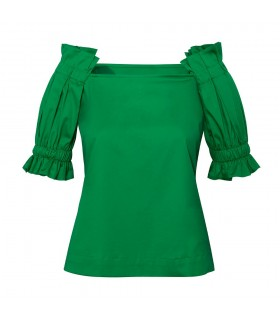 short cut A-Line half sleeve blouse in green (overhead blouse)