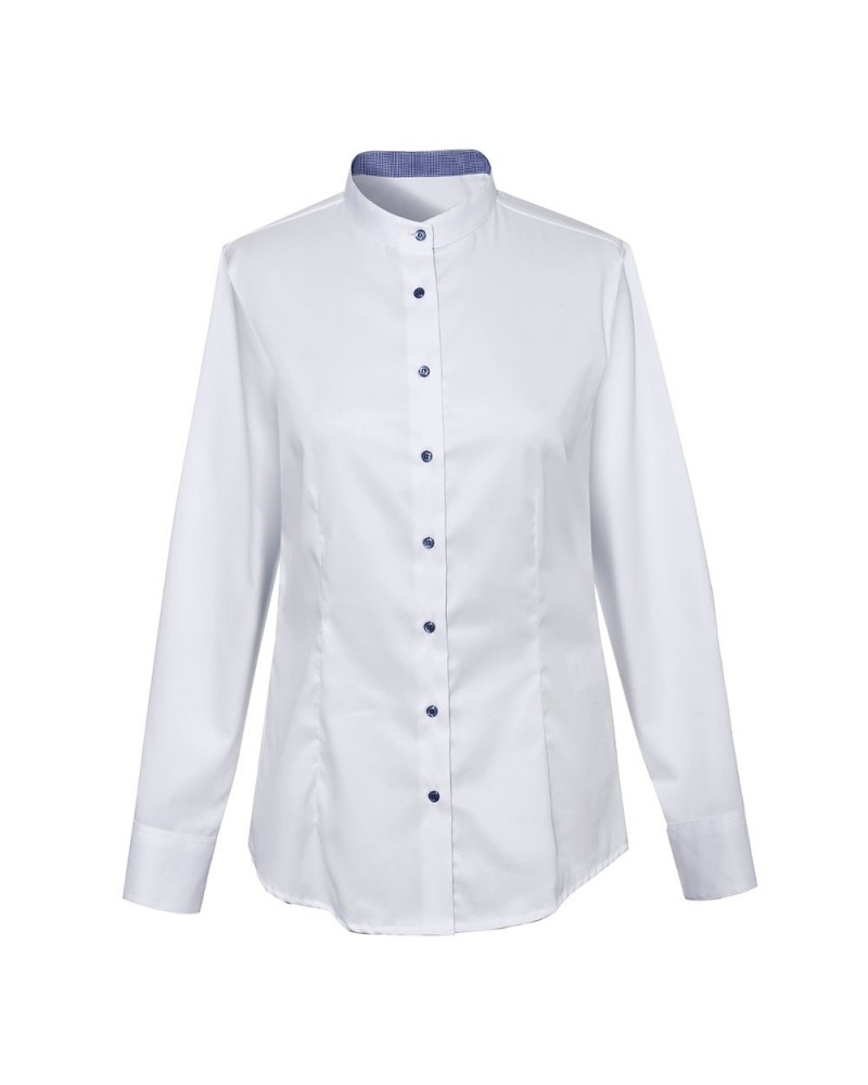 non iron stand up collar blouse in white with contrast in dark blue