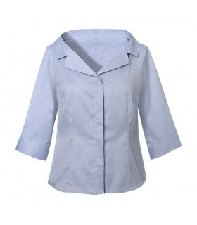 gray 3/4 sleeve blouse with double collar, Swarovski buttons and hidden button placket
