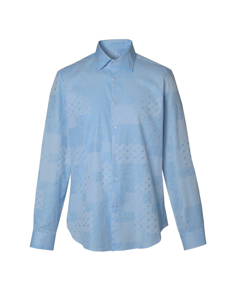 cotton shirt in light blue with fine pattern