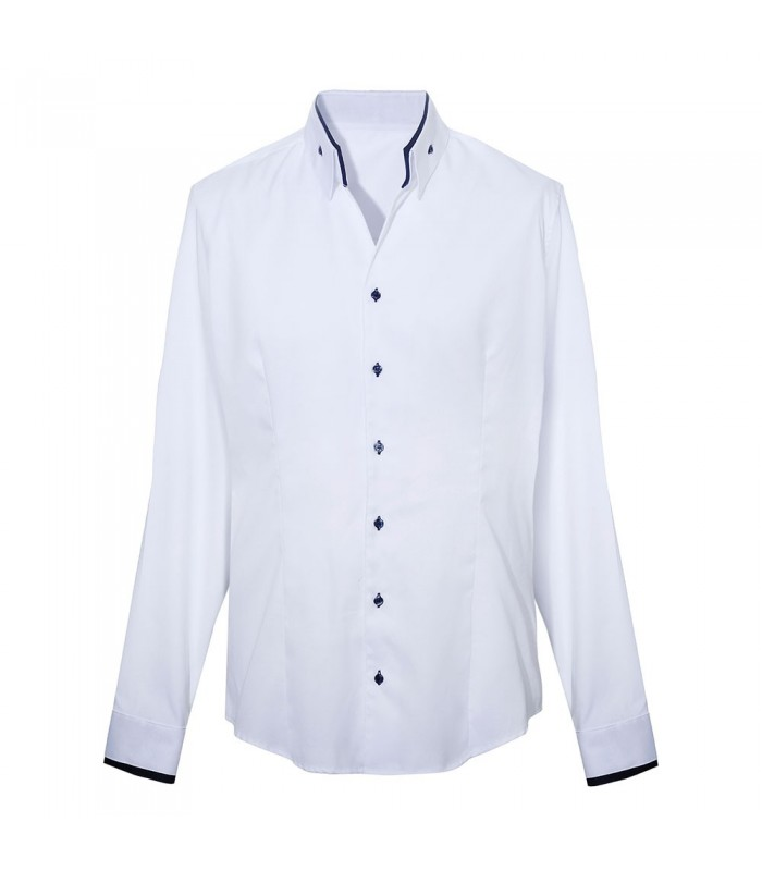 non iron shirt in white with contrast in dark blue, fine weave pattern and fancy collar