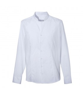 cotton shirt in white with standing collar and fine check pattern