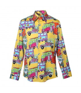 "colorful shirt in yellow with car print ""bulli"""