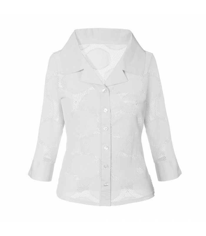 transparent stretch blouse (3/4-sleeve) in white with hole pattern and fancy double collar