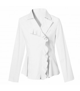 blouse in white with small flounce and zipper