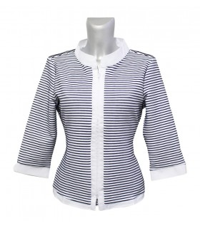 3/4-sleeve stretch blouse (without top) in white with stripes in dark blue and zipper