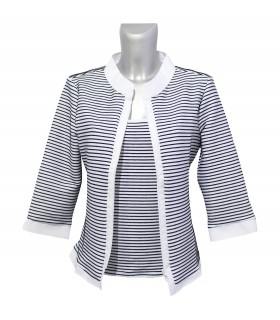 stretch blouse (3/4-sleeve) in white with stripes in dark blue and zipper