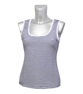 top (stretch) in white with stripes in dark blue