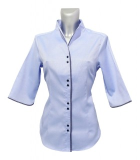 non iron stand up collar blouse in light blue with 3/4-sleeve and contrast stripe in dark blue