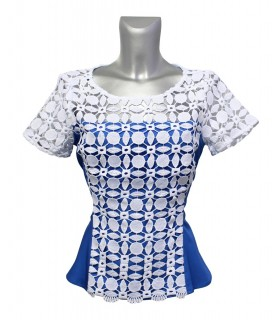 short sleeve blouse in blue with embroidery overlay in white, side zipper and peplum