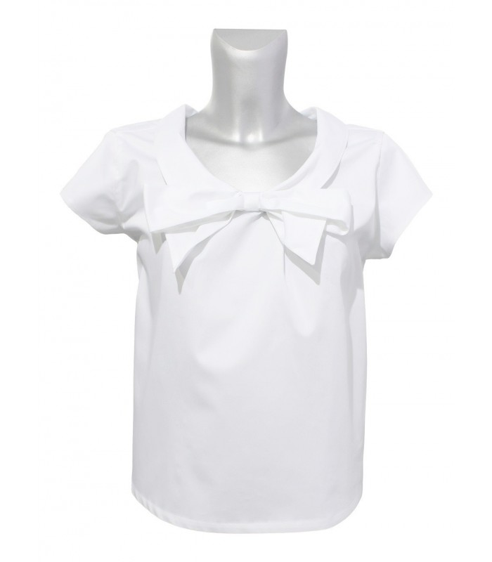 Short cut and wide blouse (worn on both sides) in white with short sleeve and bow application