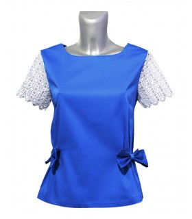 Loose-fitting short-sleeved blouse in blue with bow applications and zip at the back