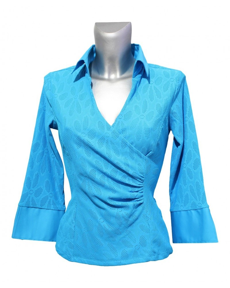 slightly transparent stretch blouse (3/4-sleeve) in turquoise with hole pattern