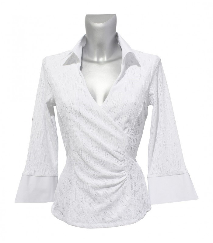 slightly transparent stretch blouse (3/4-sleeve) in white with hole pattern