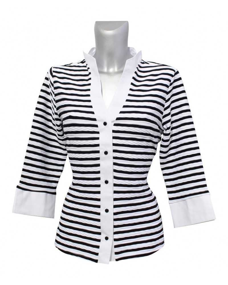 stretch blouse with 3/4-sleeve, split stand-up collar and stripes in black