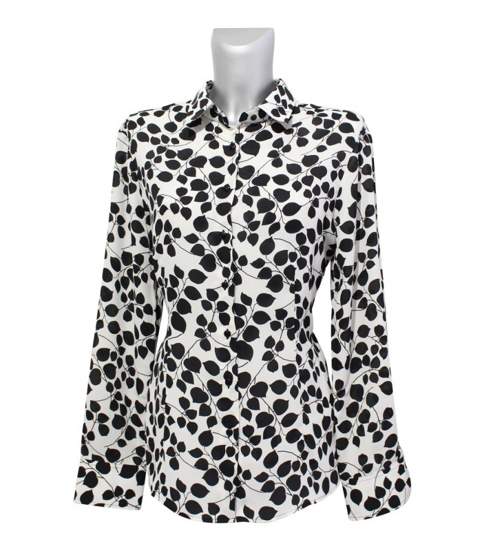 loose-fitting, transparent blouse with leaf pattern in black