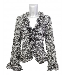 transparent blouse with continuous ruffles and dalmatian pattern in black