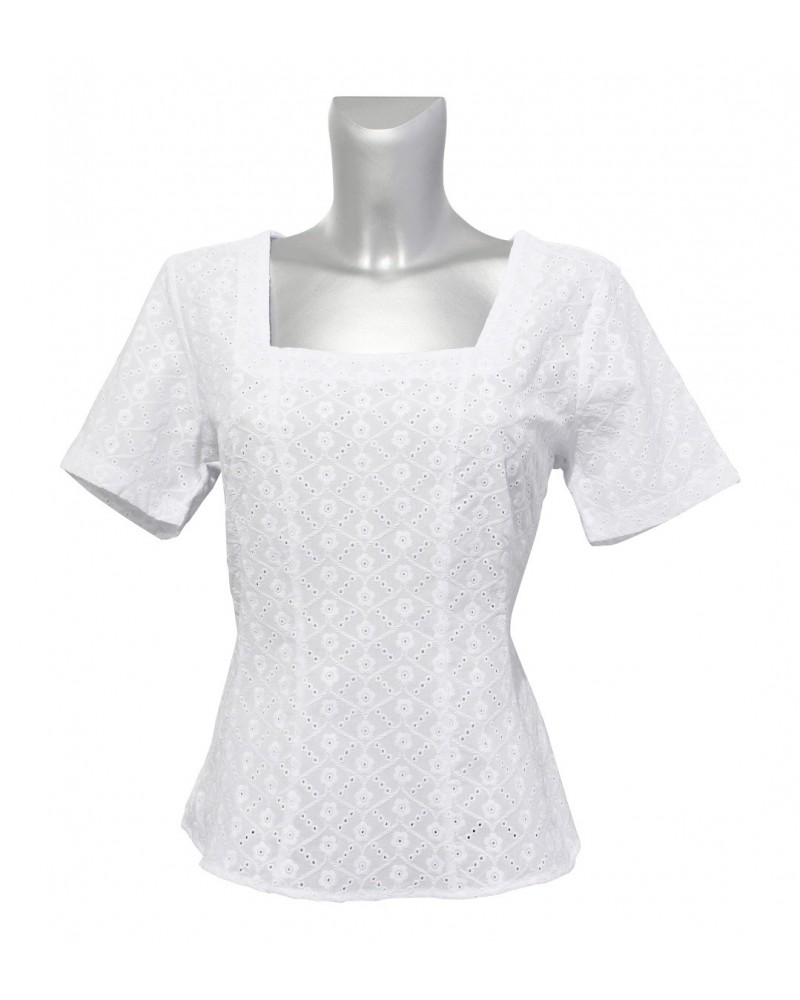 cotton blouse in white with embroidery, hole pattern, back zipper and peplum