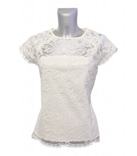 short sleeve  blouse in light beige with lace overlay and back zipper (transparent back)