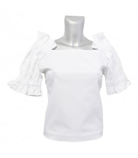 short cut A-Line half sleeve blouse in white (overhead blouse)