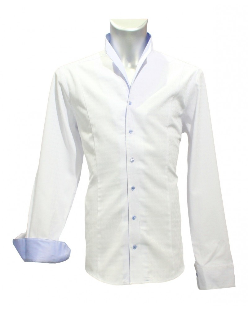 standing collar shirt in white with fine pattern and contrast in light blue