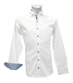 non iron shirt in white with contrast pattern in dark blue