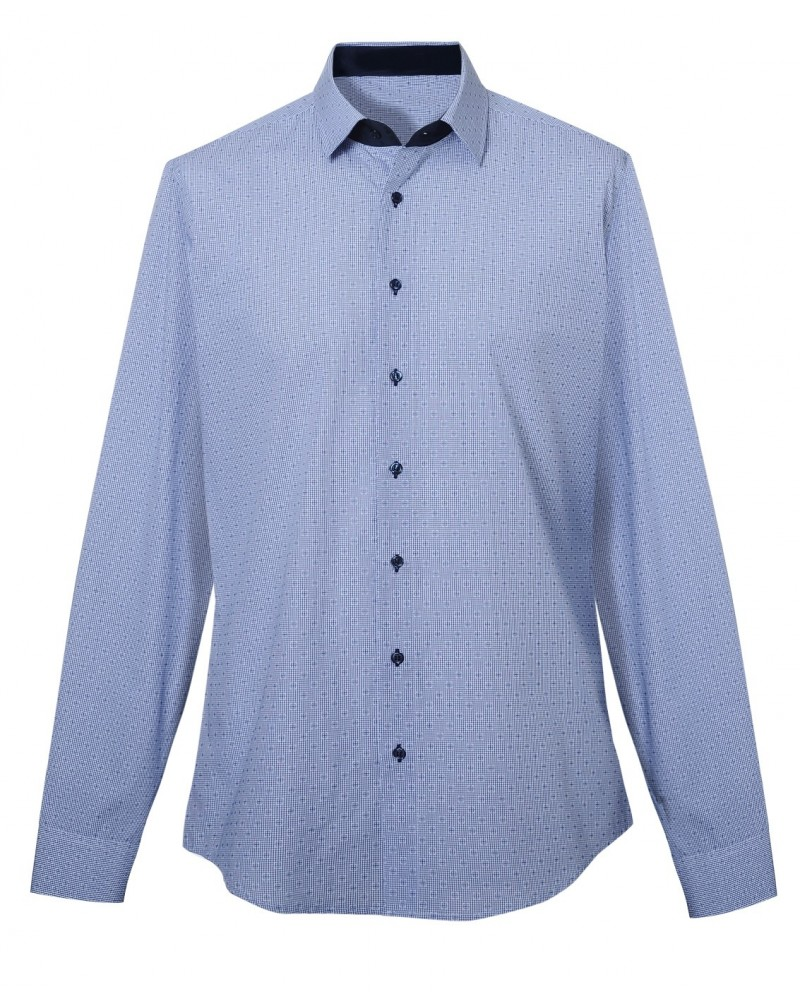 cotton shirt with fine pattern in dark  blue