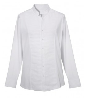 standing collar shirt in white (sleeves, back and the sides in jersey) with pleated plastron