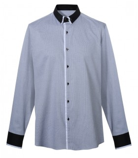 cotton shirt with fine pattern and contrast in black