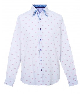 cotton and linen shirt in white with pattern in red and double collar