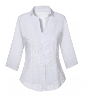 cotton blouse in white with 3/4-sleeve and hole pattern
