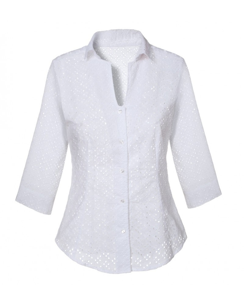 cotton blouse in white with hole pattern,