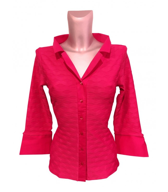 stretch blouse (3/4-sleeve) in bougainvillea pink with weave pattern