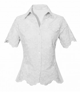 short-sleeved blouse (short cut) in white with embroidered daisy appliqués