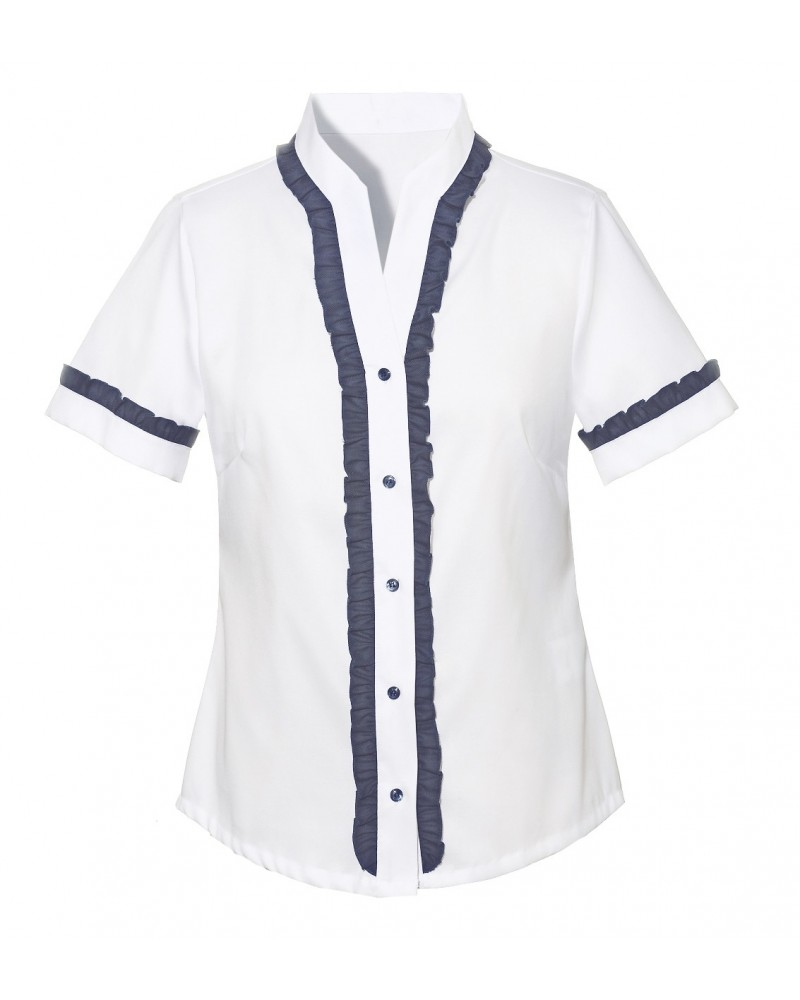 non iron shirt in white with standing collar and blue ruching