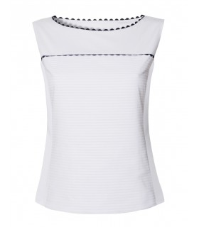 Sleeveless overhead cotton blouse in white with horizontal striped plastron