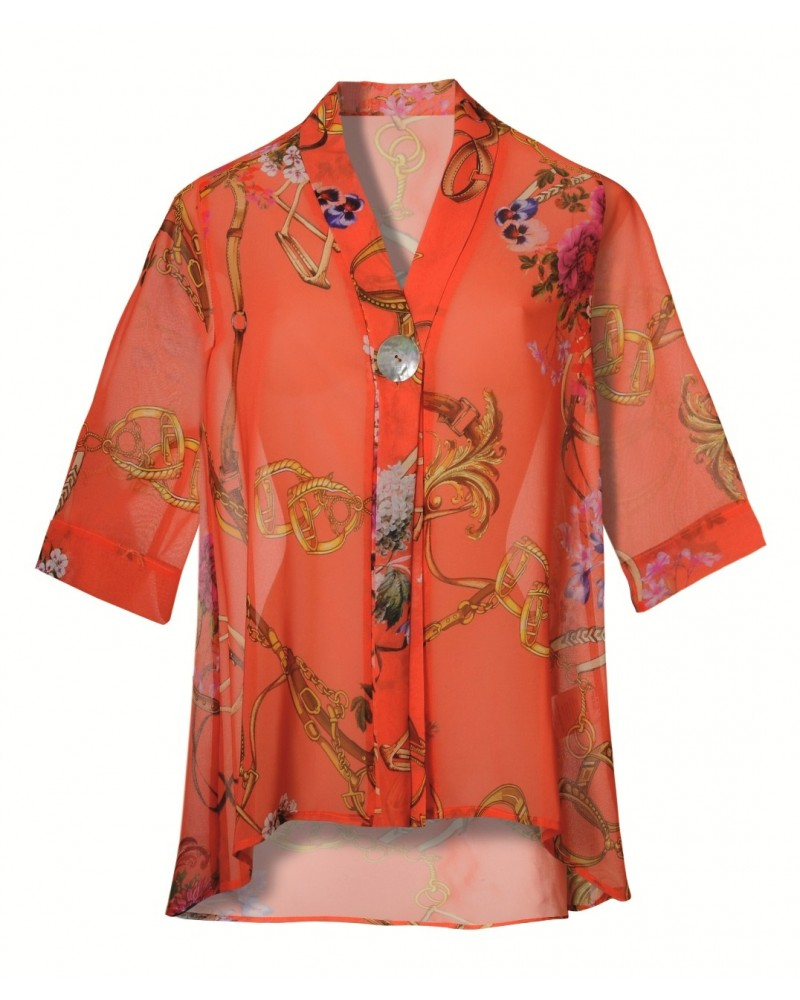 Light loose-fitting blouse in orange with climbing floral print and 3/4-sleeve