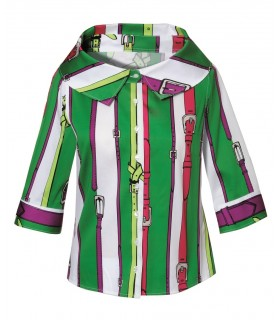 3/4-sleeve bayadere stripe cotton blouse with wide crater collar