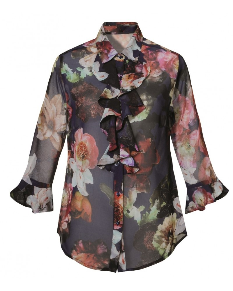 Light, loose-fitting 3/4 arm blouse in blue with a floral pattern, jabot on the neck and sleeves