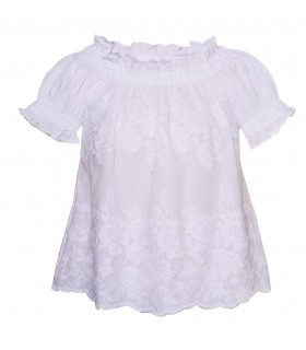 Baby doll style cotton blouse in white with embroidery